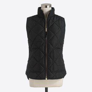 J Crew Quilted Black Puffer Vest
